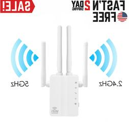 WiFi Range Extender Repeater Dual-Band 2.4G 5G 1200mbps Wire